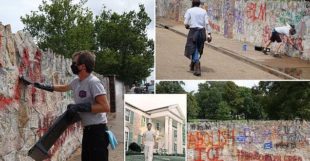 Elvis Presley's Graceland is defaced by vandals who spray-painted 'BLM' on wall of King's mansion