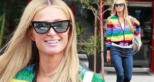 Paris Hilton embraces 2000s glamour as she rocks a rainbow jacket during Beverly Hills shopping trip