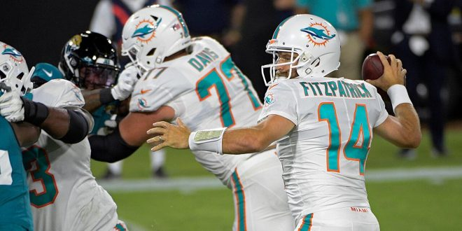 QB Ryan Fitzpatrick leads Dolphins to first win of season –