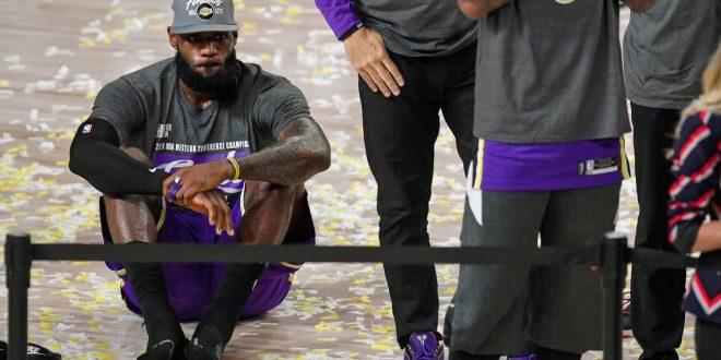 Los Angeles Lakers' LeBron James shrugs at making 10th NBA Finals