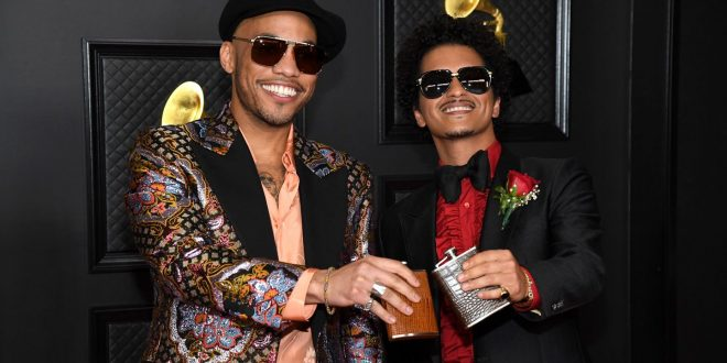 Bruno Mars And Anderson Paak Slide Into Leisure Suits For Silk Sonic Debut