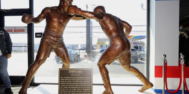 Frazier feted with statue, mural in Philly area