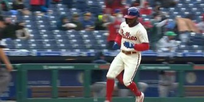 Phillies explode for three two-out runs to take 3-0 lead over Braves in the fifth inning