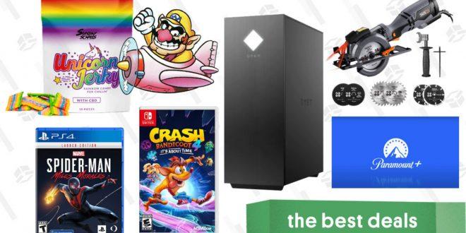 Monday's Best Deals: HP Omen 25L Gaming Desktop, Buy 2 Get 1 Free Video Games, Tacklife Circular Saw, Unicorn Jerky CBD, Paramount+ Free Trial, and More