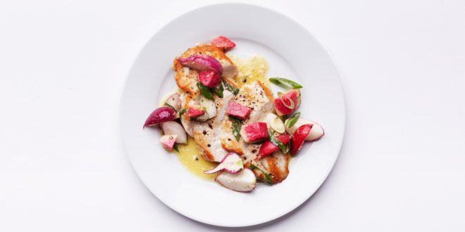 Pan-Seared Chicken Breasts With Crunchy Radish Salad