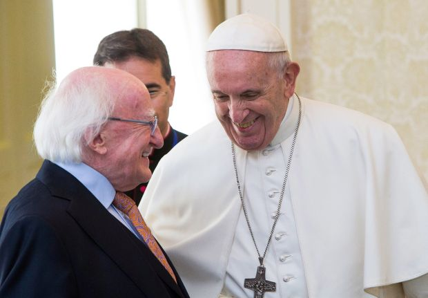 Pope Francis with President D Higgins at Aras an Uachtarain in 2018. Photograph: WMOF2018/Maxwell Photography via Getty Images
