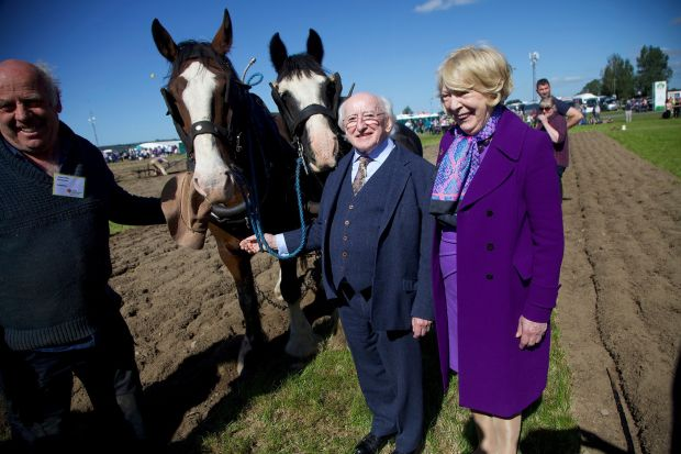 President Michael D Higgins and his wife Sabina at the National Ploughing Championships in 2019. Photograph: Stephen Collins/Collins Photos