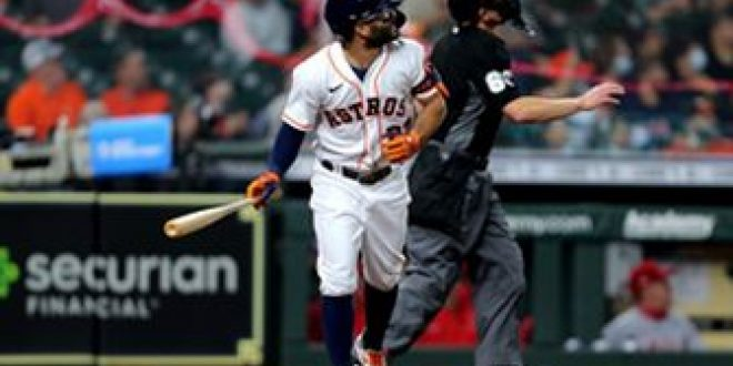 Astros ride homers from five different hitters to 9-1 win over Angels