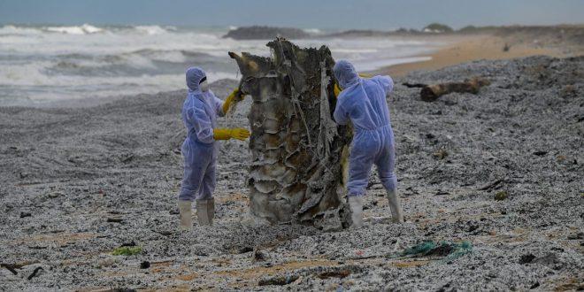 Plastic Waste from Burning Ship Buries Sri Lanka's Coastline