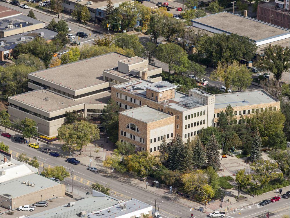 Saskatoon city hall, seen here in a September 2019 aerial photo.