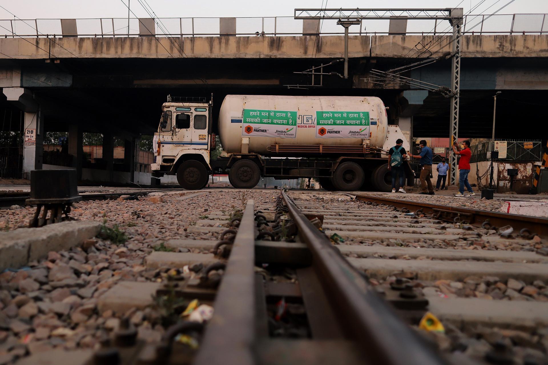 A tanker carrying medical oxygen arrives in Delhi. Bloomberg
