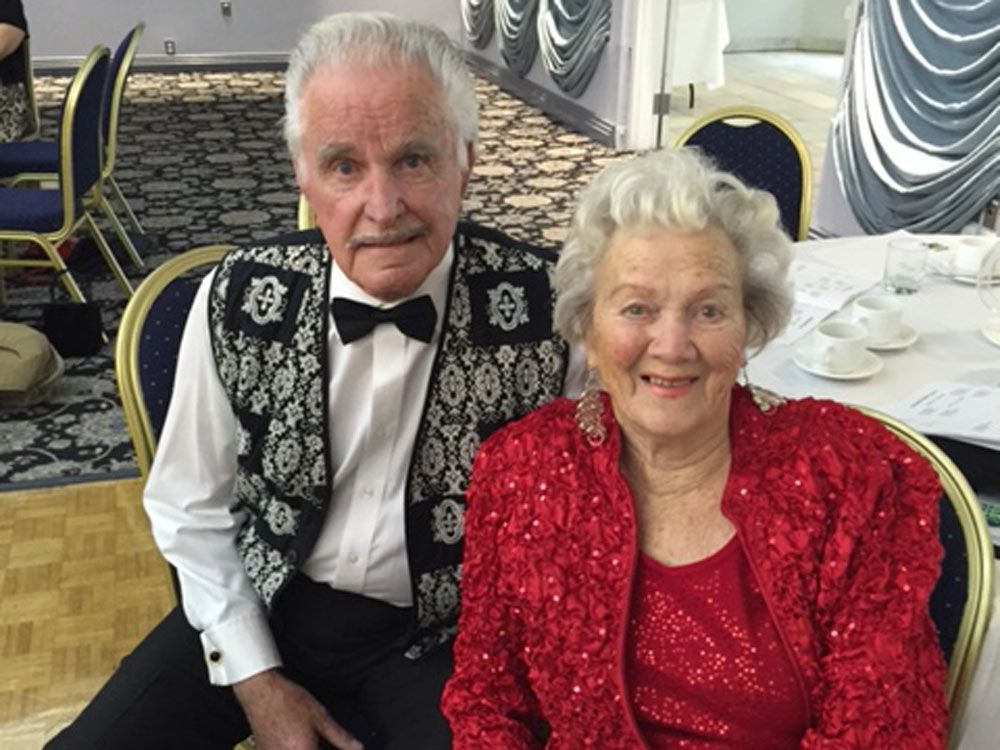 Keen ballroom dancers George Dettling and wife Elizabeth, both 98, at an Arthur Murray dance party. The couple say they often find themselves dancing in the kitchen. The couple met at a Victory party in Amsterdam after the Nazi surrender in May 1945. They both left their blind date partners to be together.