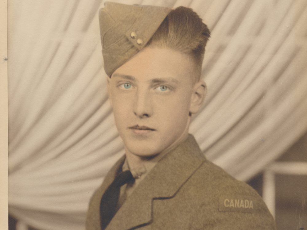 Ray Lewis, now 96, in the uniform he wore after joining the Canadian army aged 17 to fight in the Second World War. He was sent to fight in Italy in 1944 as the driver of a vehicle carrying a Bren-gun and an anti-tank weapon. He went on to join Canadian troops who liberated Holland on May 4, 1945.