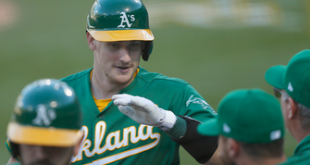 Athletics score five runs in the third, take down Angels, 8-5