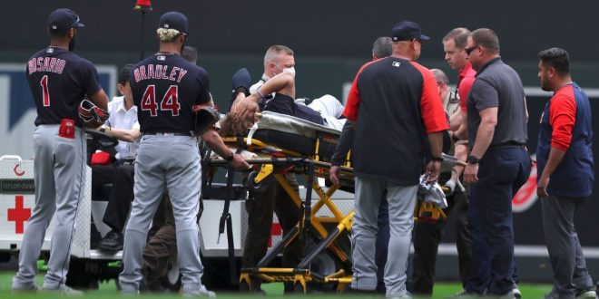 Indians OF Naylor carted off field after collision