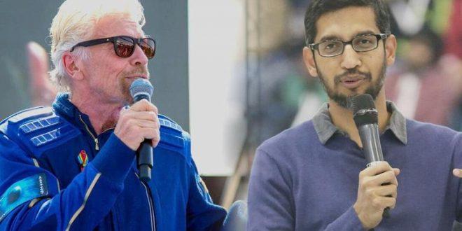 Google CEO Sundar Pichai congratulates 70-yr-old Branson on inspiring adventure to space