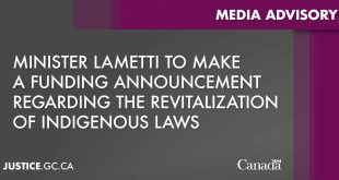 Minister Lametti to make a funding announcement regarding the revitalization of Indigenous laws